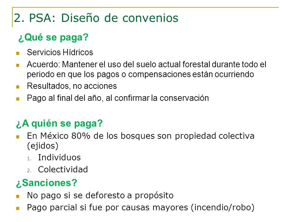 Servicios Hídricos Acuerdo: Mantener el uso del suelo actual forestal durante todo el periodo en que los pagos o compensaciones están ocurriendo Resul