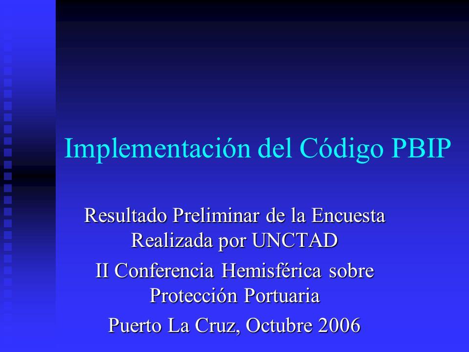 Implementación del Código PBIP Resultado Preliminar de la Encuesta Realizada por UNCTAD II Conferencia Hemisférica sobre Protección Portuaria Puerto L