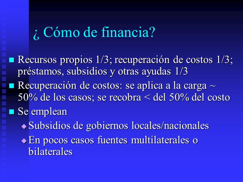 ¿ Cómo de financia? Recursos propios 1/3; recuperación de costos 1/3; préstamos, subsidios y otras ayudas 1/3 Recursos propios 1/3; recuperación de co