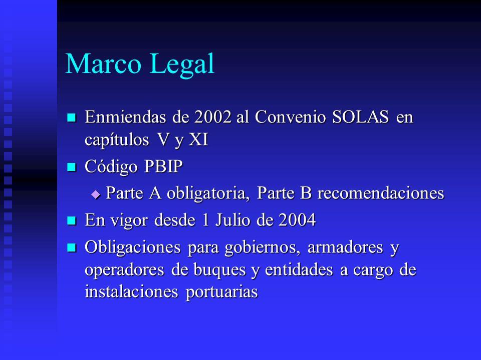 Marco Legal Enmiendas de 2002 al Convenio SOLAS en capítulos V y XI Enmiendas de 2002 al Convenio SOLAS en capítulos V y XI Código PBIP Código PBIP Pa