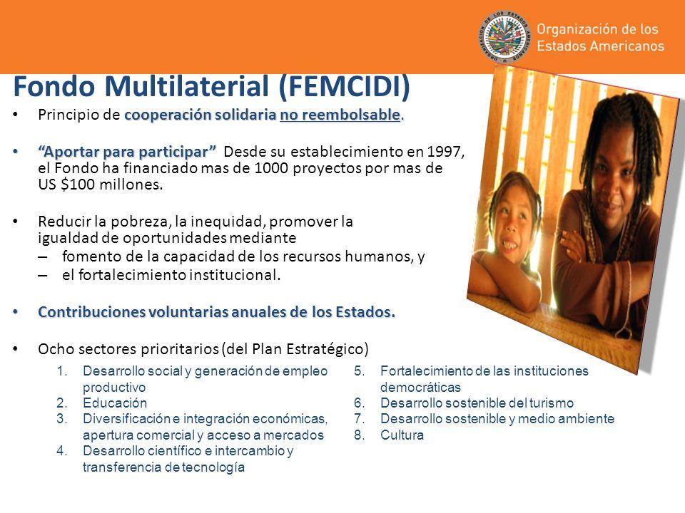 Fondo Multilaterial (FEMCIDI) cooperación solidaria no reembolsable. Principio de cooperación solidaria no reembolsable. Aportar para participar Aport