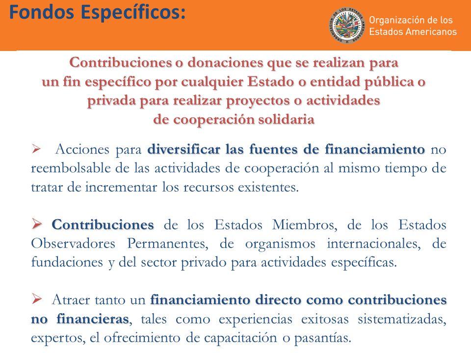 Contribuciones o donaciones que se realizan para un fin específico por cualquier Estado o entidad pública o privada para realizar proyectos o activida