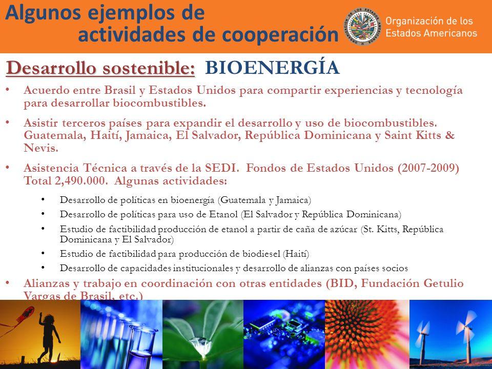 Algunos ejemplos de actividades de cooperación Acuerdo entre Brasil y Estados Unidos para compartir experiencias y tecnología para desarrollar biocomb