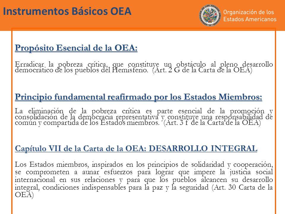Instrumentos Básicos OEA Propósito Esencial de la OEA: Erradicar la pobreza crítica, que constituye un obstáculo al pleno desarrollo democrático de lo