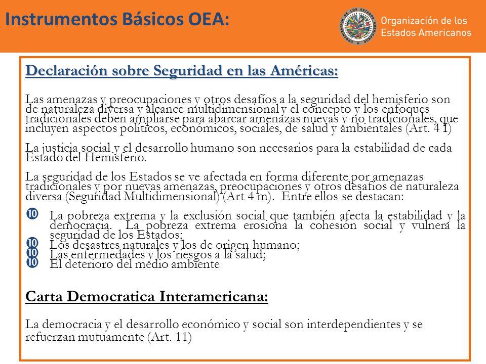 Instrumentos Básicos OEA: Declaración sobre Seguridad en las Américas: Las amenazas y preocupaciones y otros desafíos a la seguridad del hemisferio so