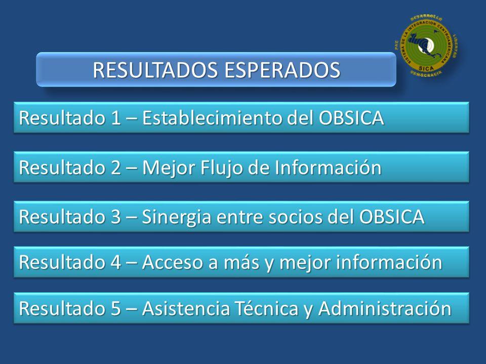 Resultado 1 – Establecimiento del OBSICA Resultado 2 – Mejor Flujo de Información Resultado 3 – Sinergia entre socios del OBSICA Resultado 4 – Acceso
