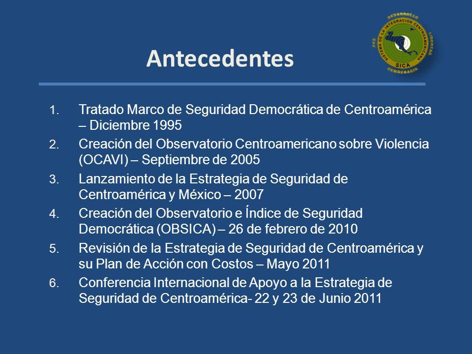 1. Tratado Marco de Seguridad Democrática de Centroamérica – Diciembre 1995 2. Creación del Observatorio Centroamericano sobre Violencia (OCAVI) – Sep