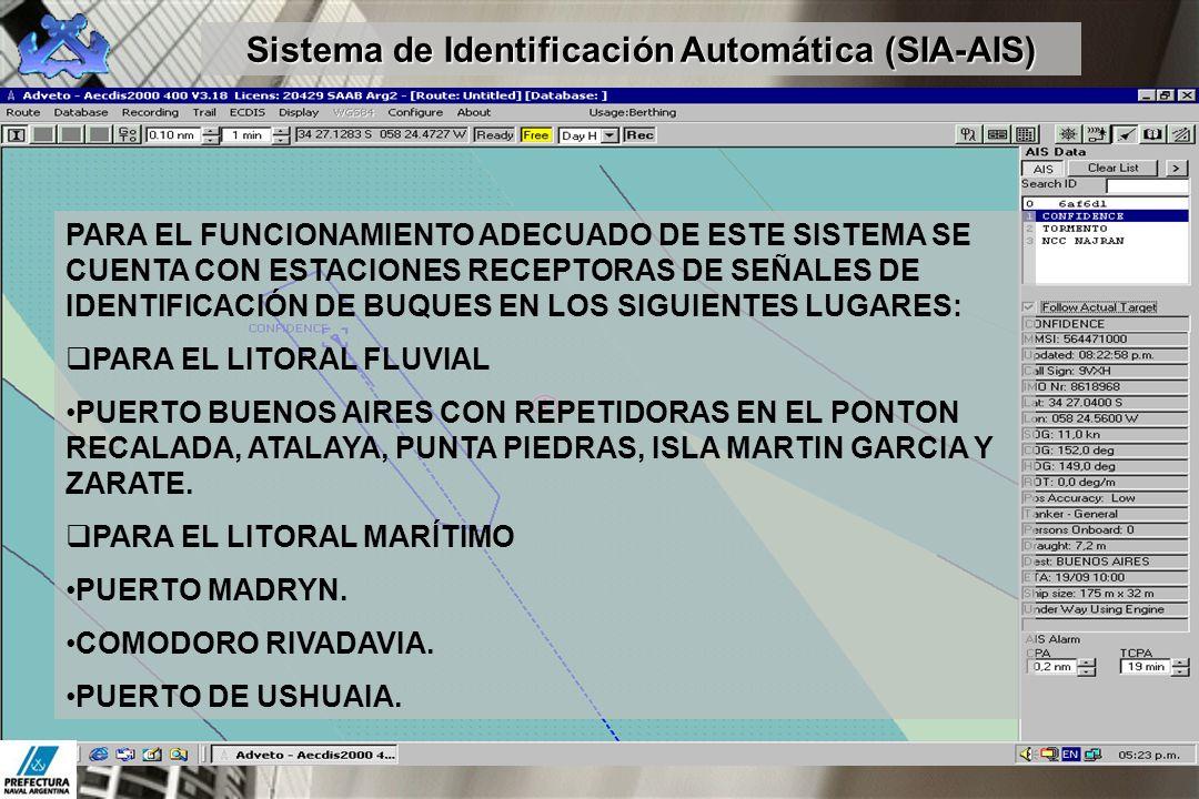 PARA EL FUNCIONAMIENTO ADECUADO DE ESTE SISTEMA SE CUENTA CON ESTACIONES RECEPTORAS DE SEÑALES DE IDENTIFICACIÓN DE BUQUES EN LOS SIGUIENTES LUGARES: