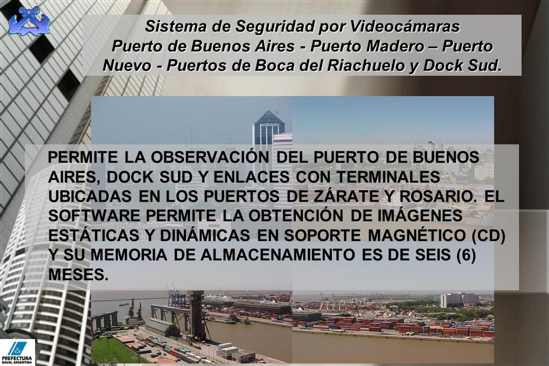 Sistema de Seguridad por Videocámaras Puerto de Buenos Aires - Puerto Madero – Puerto Nuevo - Puertos de Boca del Riachuelo y Dock Sud. PERMITE LA OBS