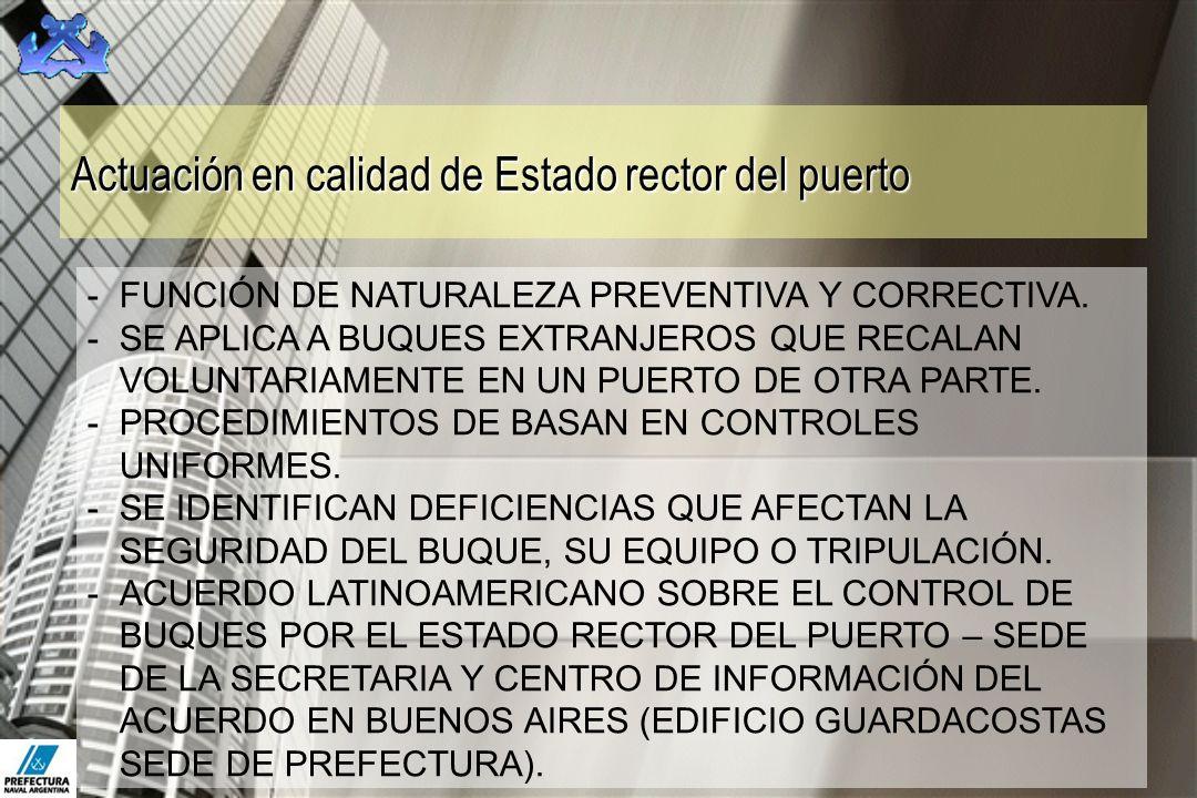 Actuación en calidad de Estado rector del puerto -FUNCIÓN DE NATURALEZA PREVENTIVA Y CORRECTIVA. -SE APLICA A BUQUES EXTRANJEROS QUE RECALAN VOLUNTARI