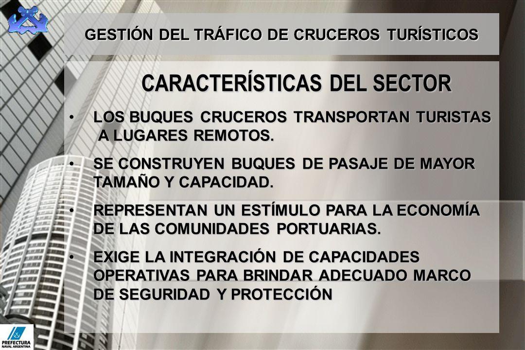 GESTIÓN DEL TRÁFICO DE CRUCEROS TURÍSTICOS CARACTERÍSTICAS DEL SECTOR LOS BUQUES CRUCEROS TRANSPORTAN TURISTAS A LUGARES REMOTOS.LOS BUQUES CRUCEROS T