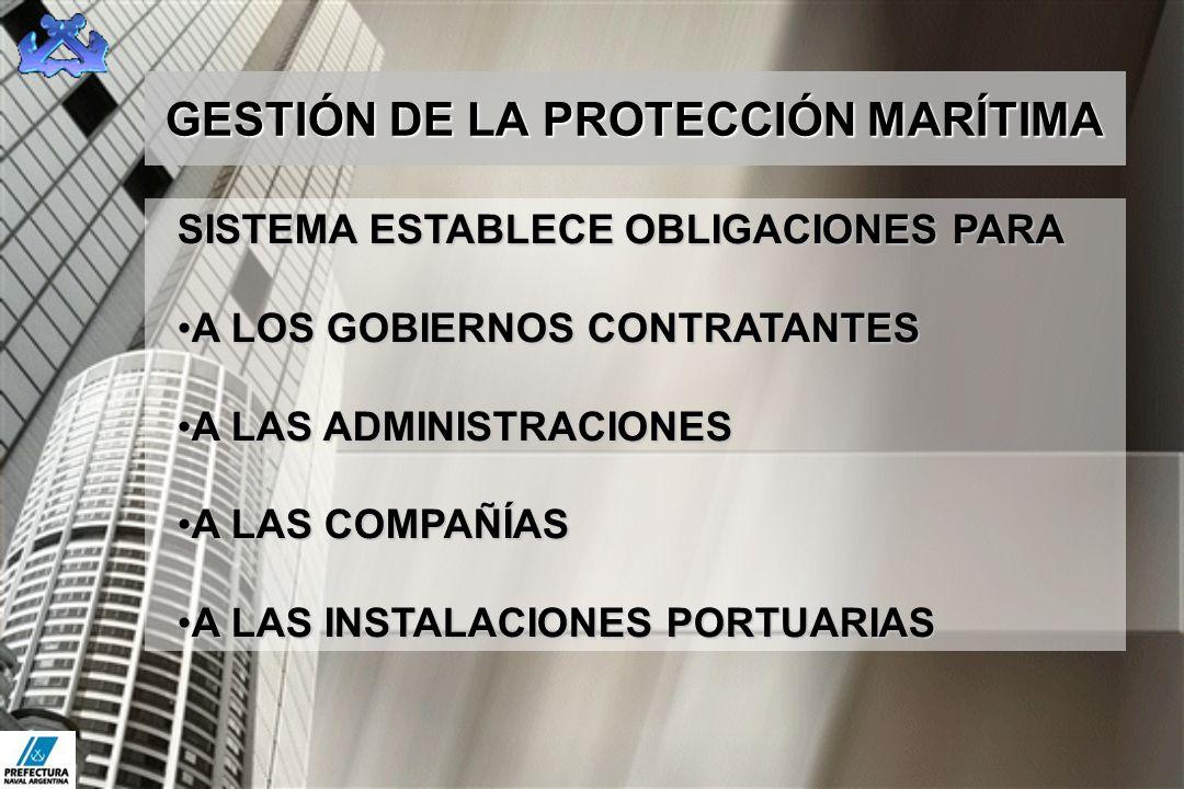 GESTIÓN DE LA PROTECCIÓN MARÍTIMA SISTEMA ESTABLECE OBLIGACIONES PARA A LOS GOBIERNOS CONTRATANTESA LOS GOBIERNOS CONTRATANTES A LAS ADMINISTRACIONESA
