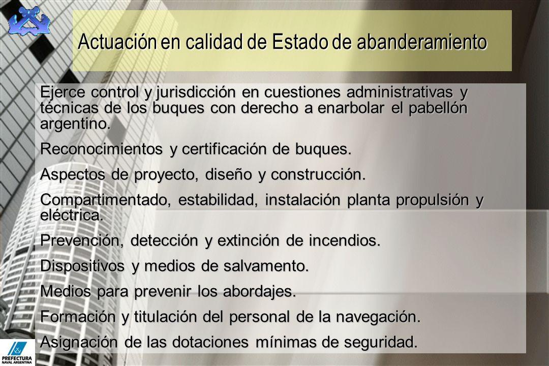 Actuación en calidad de Estado de abanderamiento Ejerce control y jurisdicción en cuestiones administrativas y técnicas de los buques con derecho a en