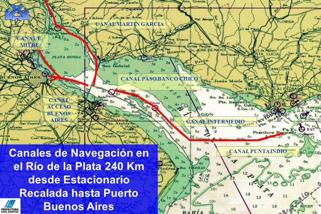 Canales de Navegación en el Río de la Plata 240 Km desde Estacionario Recalada hasta Puerto Buenos Aires CANAL MARTIN GARCIA CANAL PUNTA INDIO CANAL E