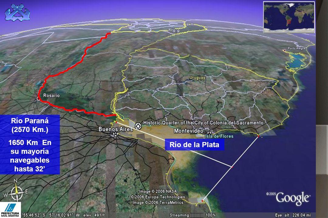 Río de la Plata Río Paraná (2570 Km.) 1650 Km En su mayoría navegables hasta 32