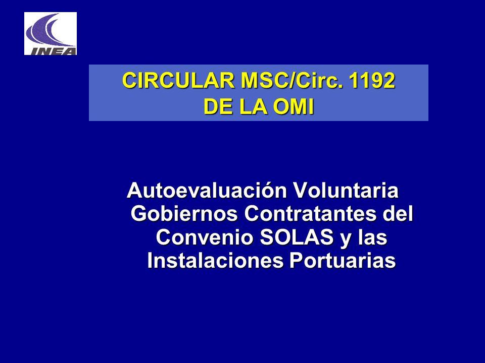 Autoevaluación Voluntaria Gobiernos Contratantes del Convenio SOLAS y las Instalaciones Portuarias CIRCULAR MSC/Circ. 1192 DE LA OMI
