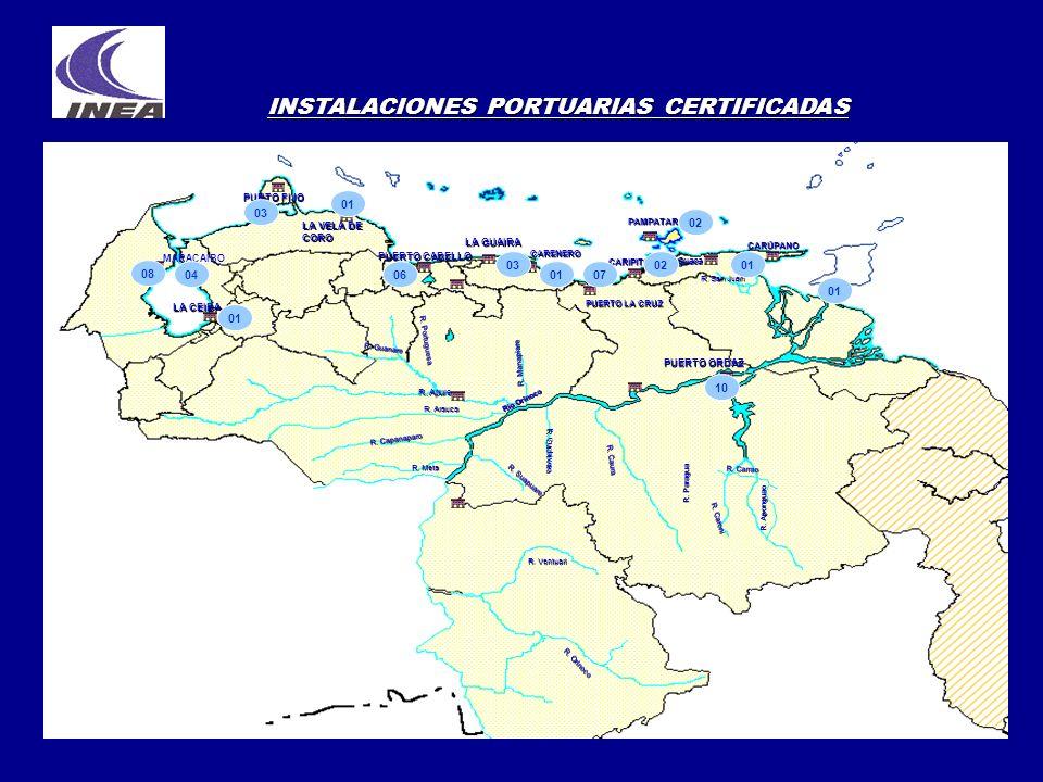 INSTALACIONES PORTUARIAS CERTIFICADAS LA CEIBA PUNTO FIJO MARACAIBO LA VELA DE CORO LA GUAIRA CARENERO PUERTO LA CRUZ CARÚPANO PAMPATAR PUERTO ORDAZ R