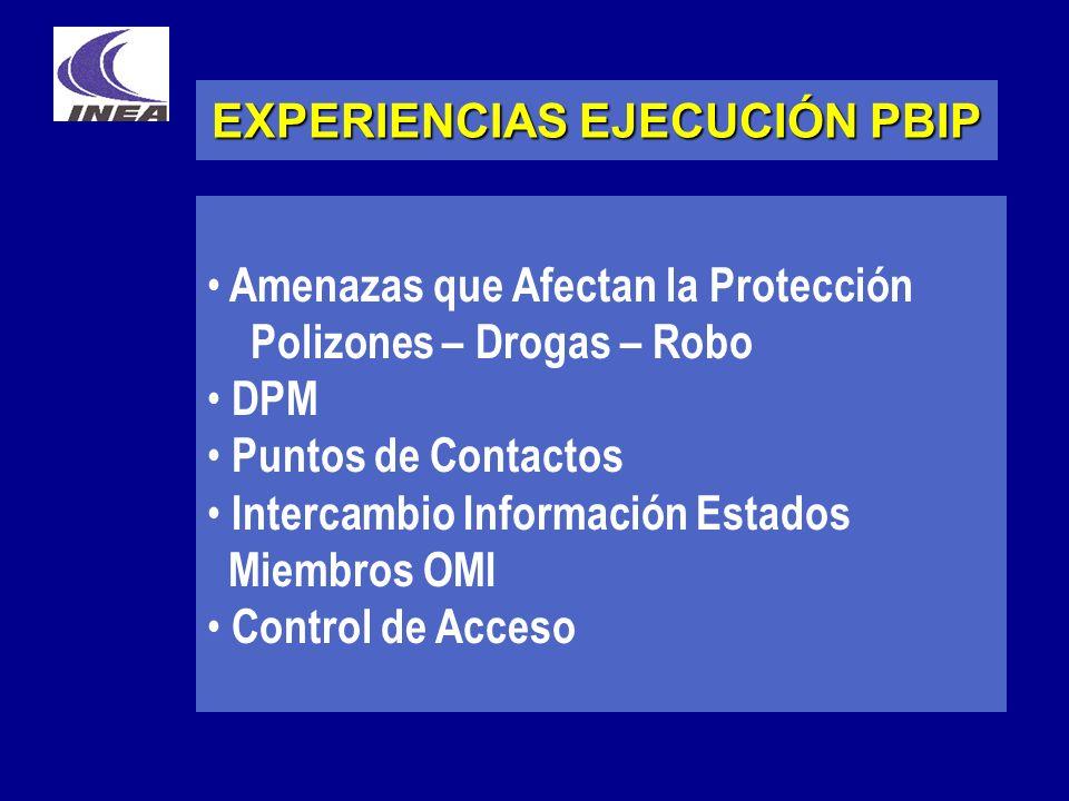 EXPERIENCIAS EJECUCIÓN PBIP Amenazas que Afectan la Protección Polizones – Drogas – Robo DPM Puntos de Contactos Intercambio Información Estados Miemb