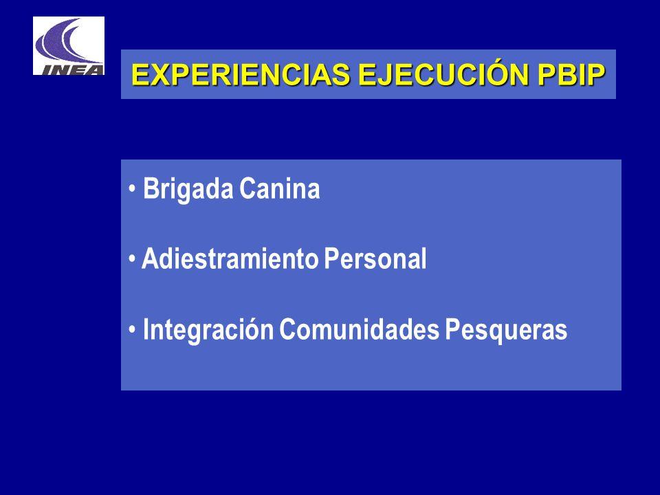 EXPERIENCIAS EJECUCIÓN PBIP Brigada Canina Adiestramiento Personal Integración Comunidades Pesqueras