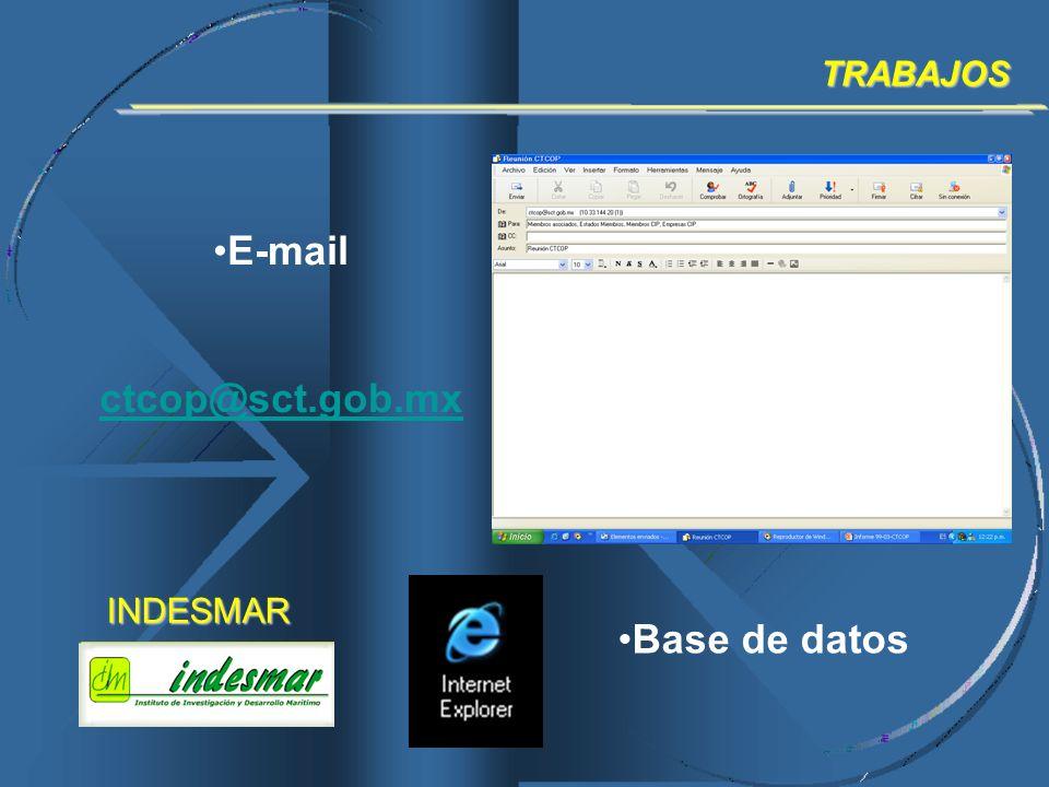 E-mail ctcop@sct.gob.mxTRABAJOS Base de datosINDESMAR