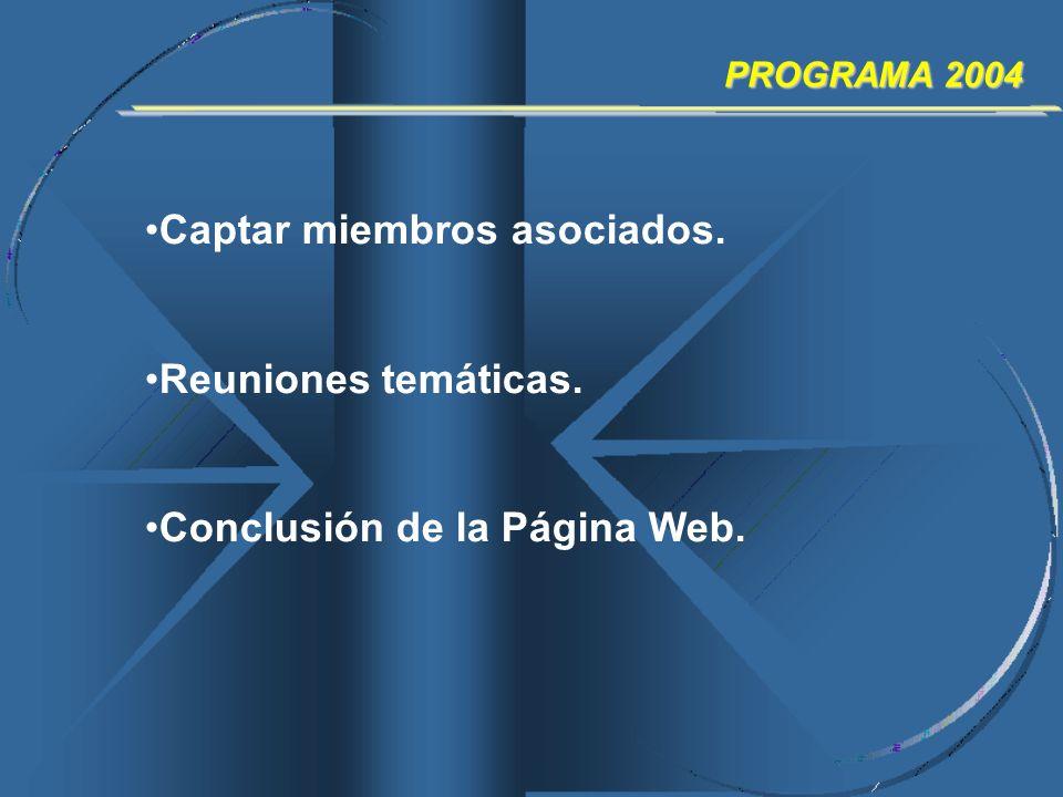 PROGRAMA 2004 Captar miembros asociados. Reuniones temáticas. Conclusión de la Página Web.