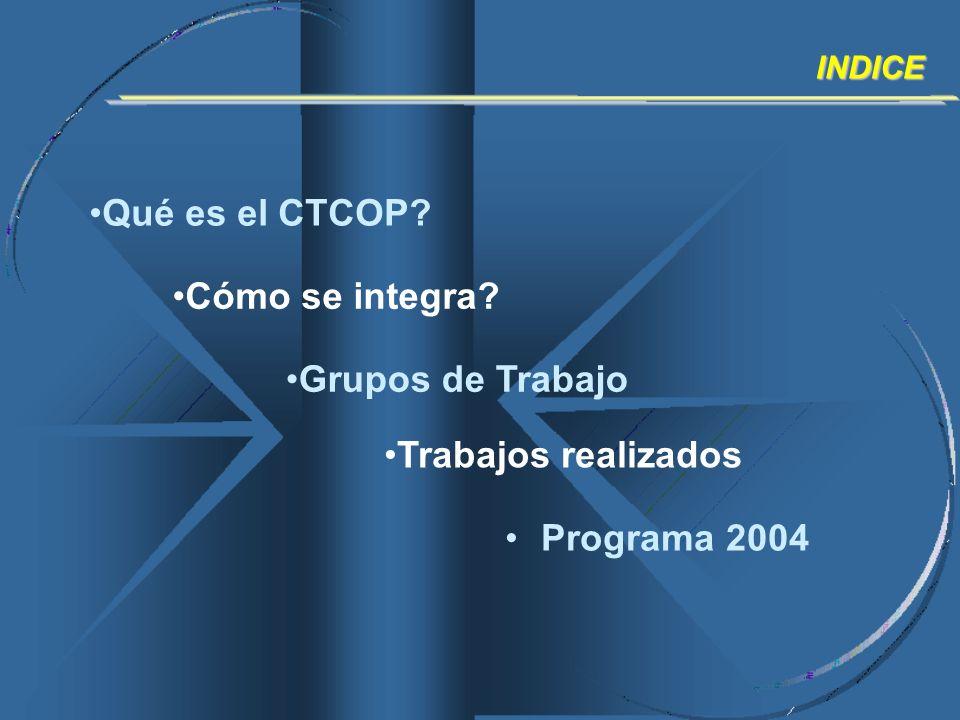 Qué es el CTCOP? INDICE Cómo se integra? Grupos de Trabajo Trabajos realizados Programa 2004
