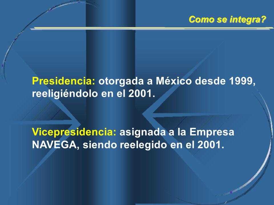 Presidencia: otorgada a México desde 1999, reeligiéndolo en el 2001. Vicepresidencia: asignada a la Empresa NAVEGA, siendo reelegido en el 2001. Como