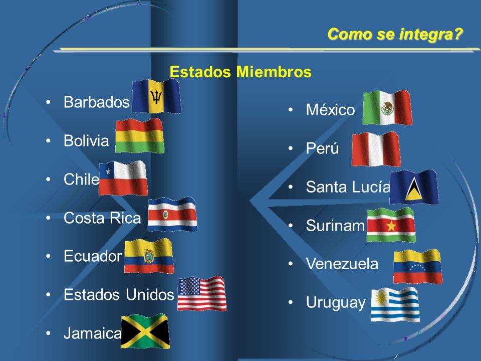 Estados Miembros Barbados Bolivia Chile Costa Rica Ecuador Estados Unidos Jamaica México Perú Santa Lucía Surinam Venezuela Uruguay