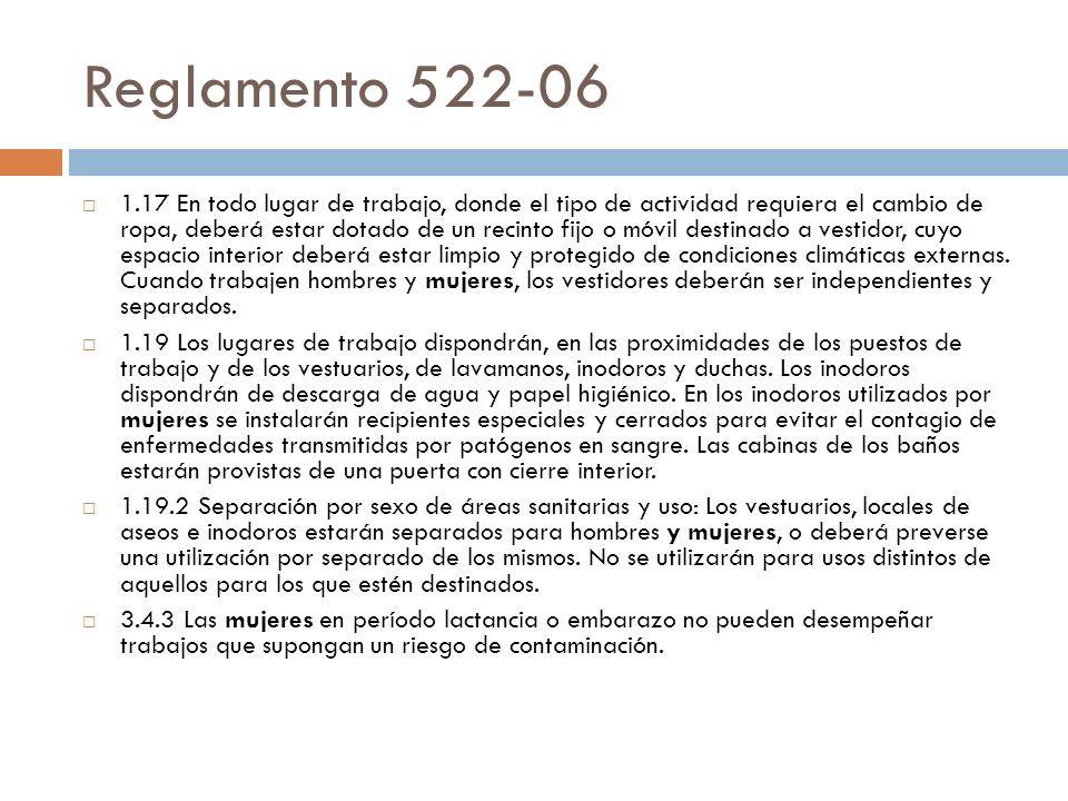 Reglamento 522-06 1.17 En todo lugar de trabajo, donde el tipo de actividad requiera el cambio de ropa, deberá estar dotado de un recinto fijo o móvil
