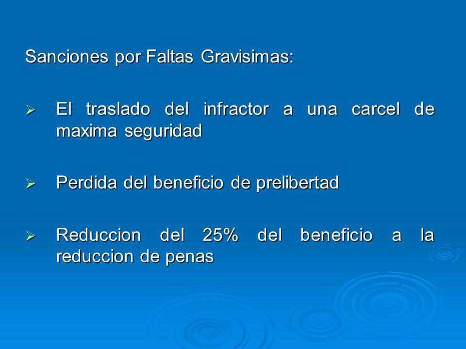 Sanciones por Faltas Gravisimas: El traslado del infractor a una carcel de maxima seguridad El traslado del infractor a una carcel de maxima seguridad