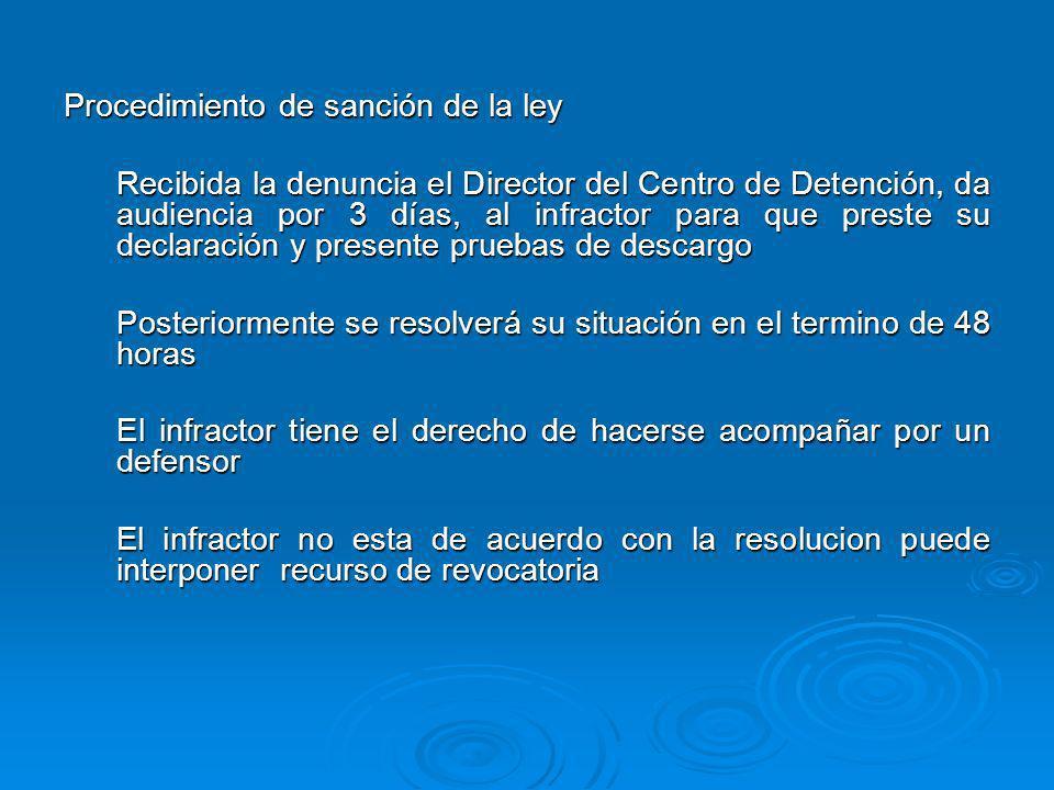 Procedimiento de sanción de la ley Recibida la denuncia el Director del Centro de Detención, da audiencia por 3 días, al infractor para que preste su