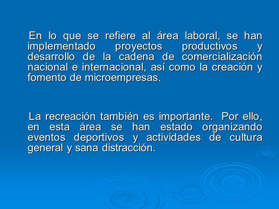 En lo que se refiere al área laboral, se han implementado proyectos productivos y desarrollo de la cadena de comercialización nacional e internacional