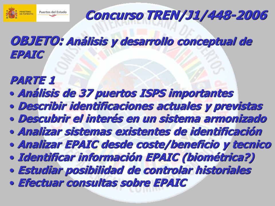 Concurso TREN/J1/448-2006 OBJETO: Análisis y desarrollo conceptual de EPAIC PARTE 1 Análisis de 37 puertos ISPS importantes Análisis de 37 puertos ISP
