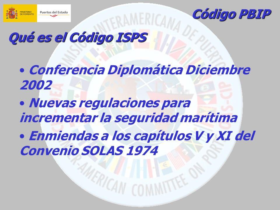 Código PBIP Qué es el Código ISPS Conferencia Diplomática Diciembre 2002 Nuevas regulaciones para incrementar la seguridad marítima Enmiendas a los ca
