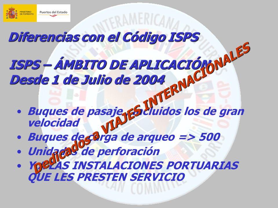Diferencias con el Código ISPS Buques de pasaje, incluidos los de gran velocidad Buques de carga de arqueo => 500 Unidades de perforación Y A LAS INST