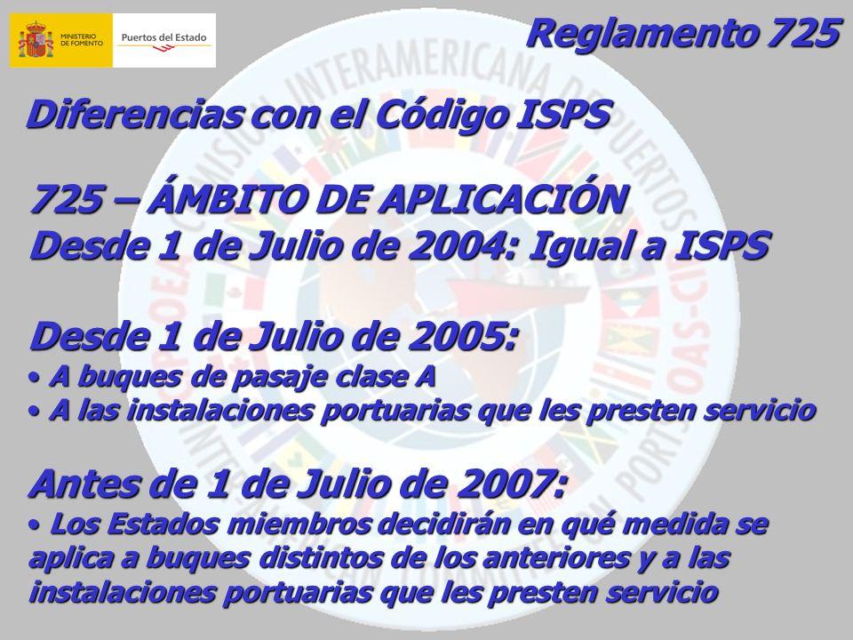 Reglamento 725 Diferencias con el Código ISPS 725 – ÁMBITO DE APLICACIÓN Desde 1 de Julio de 2004: Igual a ISPS Desde 1 de Julio de 2005: A buques de