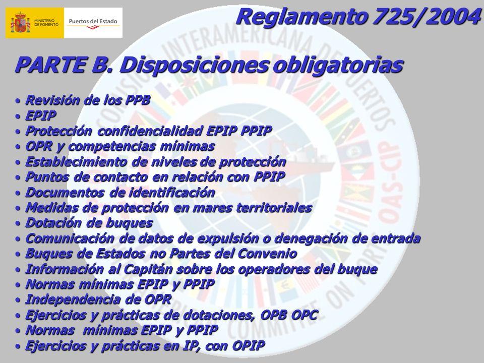 PARTE B. Disposiciones obligatorias Revisión de los PPB Revisión de los PPB EPIP EPIP Protección confidencialidad EPIP PPIP Protección confidencialida