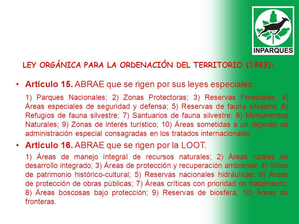 LEY ORGÁNICA PARA LA ORDENACIÓN DEL TERRITORIO (1983): Artículo 15. ABRAE que se rigen por sus leyes especiales: 1) Parques Nacionales; 2) Zonas Prote