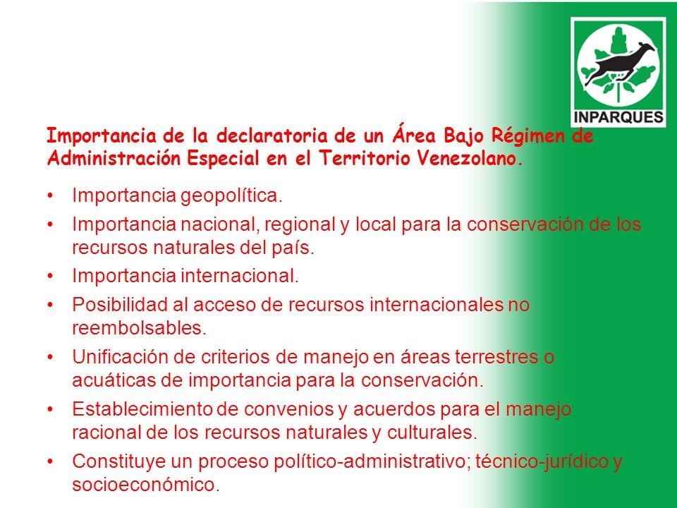Importancia de la declaratoria de un Área Bajo Régimen de Administración Especial en el Territorio Venezolano. Importancia geopolítica. Importancia na