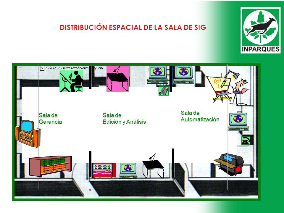 Sala de Automatización Sala de Edición y Análisis Sala de Gerencia DISTRIBUCIÓN ESPACIAL DE LA SALA DE SIG