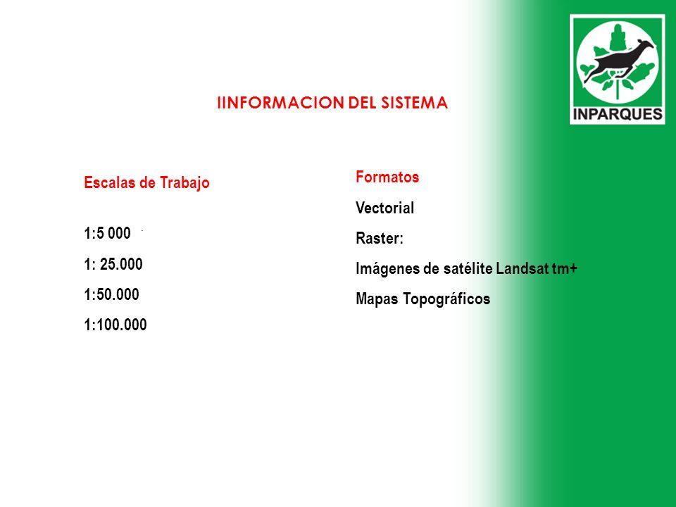 . Escalas de Trabajo 1:5 000 1: 25.000 1:50.000 1:100.000 Formatos Vectorial Raster: Imágenes de satélite Landsat tm+ Mapas Topográficos IINFORMACION