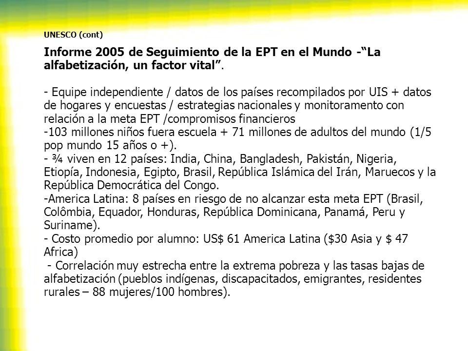 UNESCO (cont) Informe 2005 de Seguimiento de la EPT en el Mundo -La alfabetización, un factor vital. - Equipe independiente / datos de los países reco