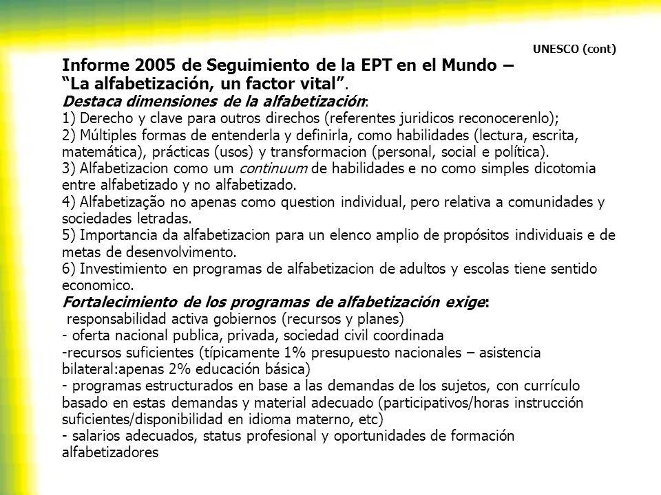 UNESCO (cont) Informe 2005 de Seguimiento de la EPT en el Mundo – La alfabetización, un factor vital. Destaca dimensiones de la alfabetización: 1) Der