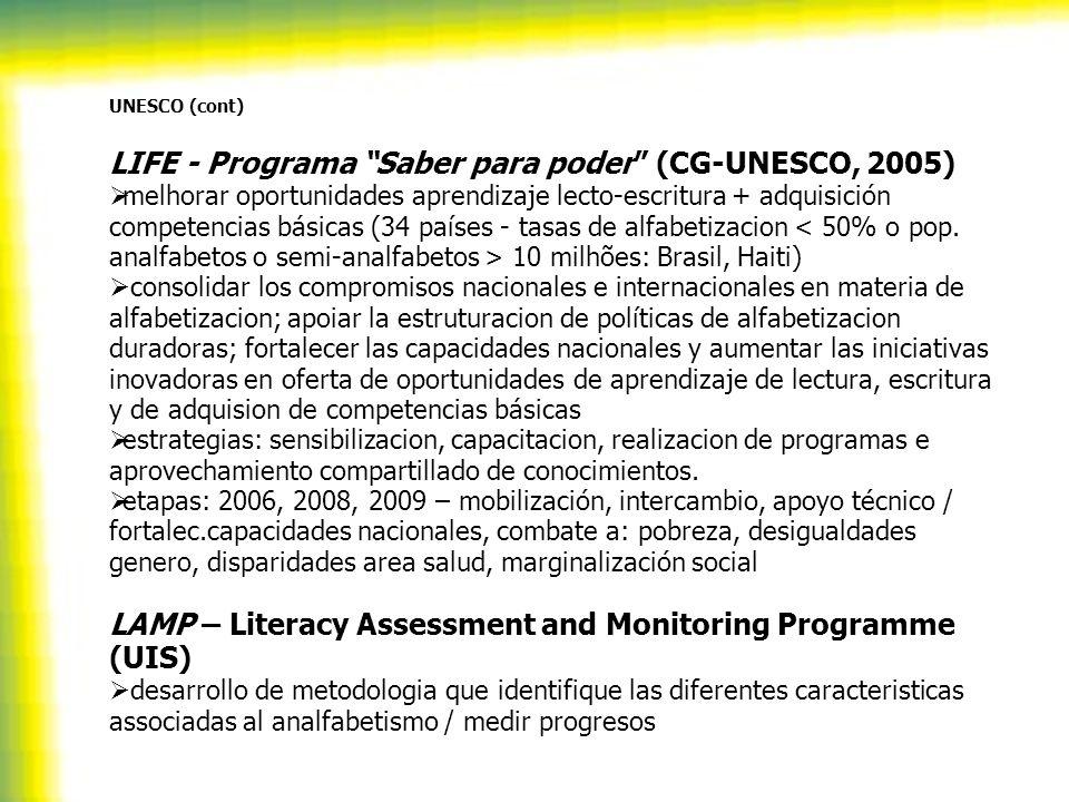 UNESCO (cont) LIFE - Programa Saber para poder (CG-UNESCO, 2005) melhorar oportunidades aprendizaje lecto-escritura + adquisición competencias básicas (34 países - tasas de alfabetizacion 10 milhões: Brasil, Haiti) consolidar los compromisos nacionales e internacionales en materia de alfabetizacion; apoiar la estruturacion de políticas de alfabetizacion duradoras; fortalecer las capacidades nacionales y aumentar las iniciativas inovadoras en oferta de oportunidades de aprendizaje de lectura, escritura y de adquision de competencias básicas estrategias: sensibilizacion, capacitacion, realizacion de programas e aprovechamiento compartillado de conocimientos.