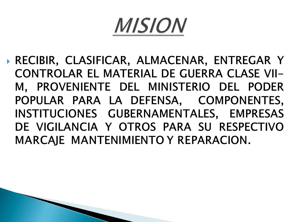 MANTENER EL CONTROL, REGISTRO Y SUPERVISION DEL MATERIAL DE GUERRA CLASE VII-M, PROVENIENTE DE LOS ENTES GUBERNAMENTALES, PARTICULARES Y OTROS, DENTRO DE NUESTRA ZONA GEOGRÁFICA, EN LO QUE REFIERE AL MARCAJE, REMARCAJE, MANTENIMIENTO Y REPARACION DE DICHO MATERIAL.