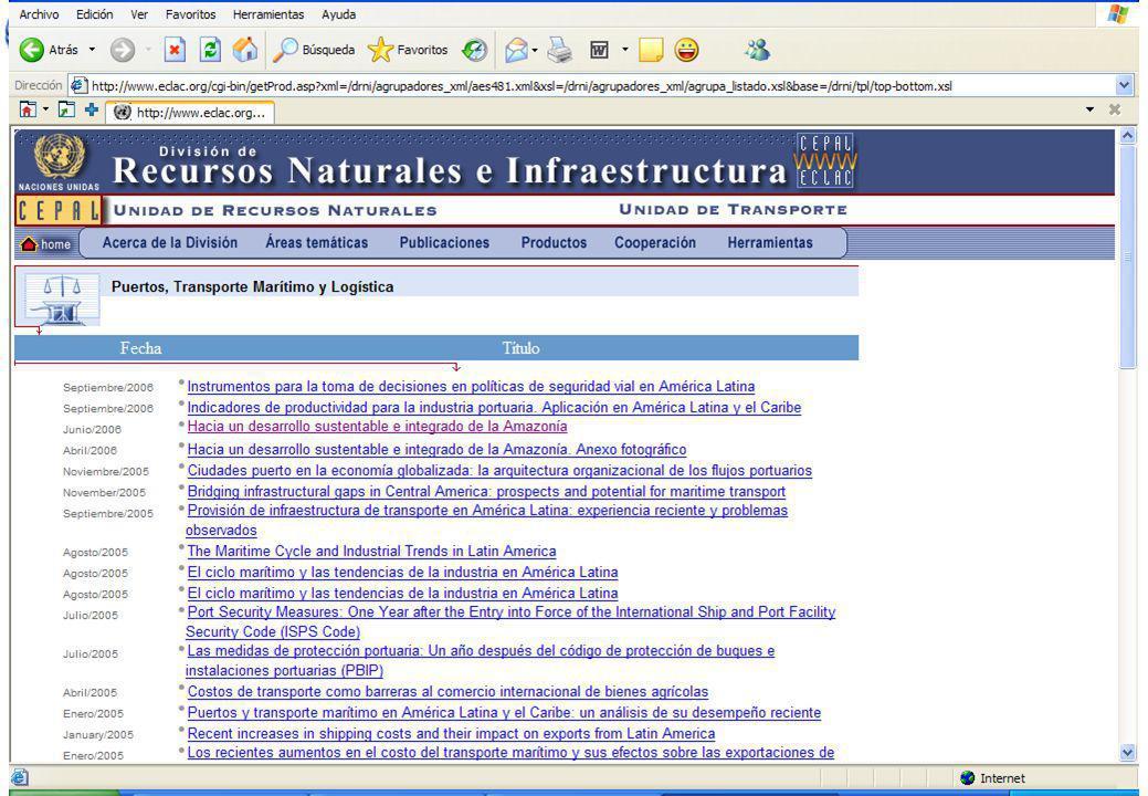 1 Puertos, transporte marítimo y logística en la CEPAL Nuevo sitio 52 años! http://www.eclac.org/drni