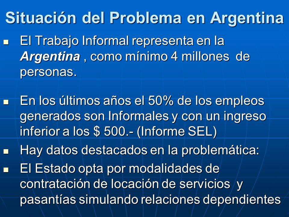 13 Situación del Problema en Argentina El Trabajo Informal representa en la Argentina, como mínimo 4 millones de personas.