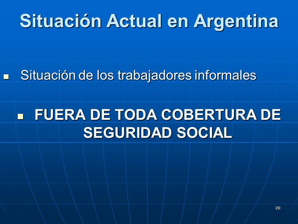 20 Situación Actual en Argentina Situación de los trabajadores informales Situación de los trabajadores informales FUERA DE TODA COBERTURA DE SEGURIDAD SOCIAL FUERA DE TODA COBERTURA DE SEGURIDAD SOCIAL