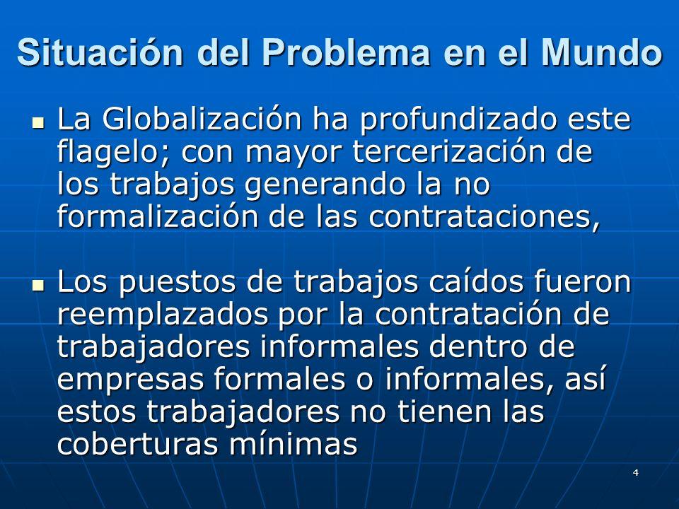 15 Situación del Problema en Argentina El Trabajo Informal se presenta básicamente en las pequeñas y medianas empresas: dificultades financieras, están fuera del circuito de fiscalización, entre otros factores.