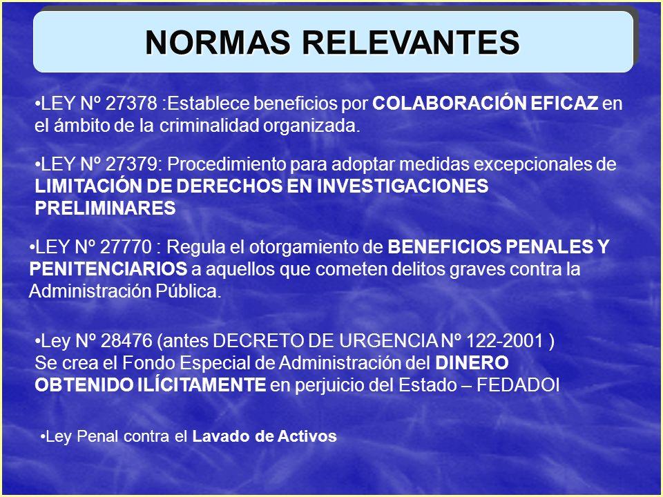 NORMAS RELEVANTES LEY Nº 27378 :Establece beneficios por COLABORACIÓN EFICAZ en el ámbito de la criminalidad organizada. LEY Nº 27379: Procedimiento p